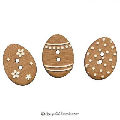 Lot de 3 Boutons Oeufs de Pâques BLEA112-160LO