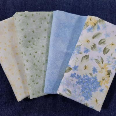 4 Coupons de Tissus Imprimés Fleurs