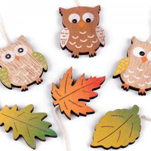 Lot 6 pendouilles en bois herisson automne 1