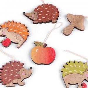 Lot 6 pendouilles en bois herisson automne