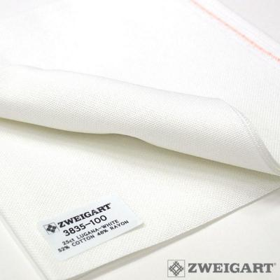 Coupon Toile à Broder Zweigart lugana 3835 10 Fils  100 Blanc-34 x 140 cm