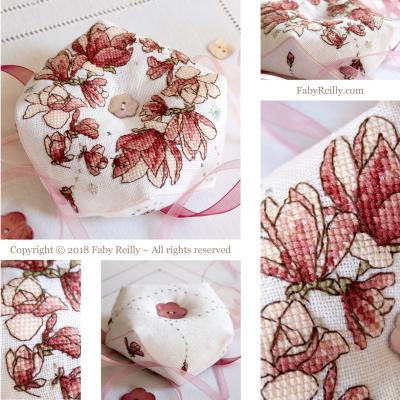 Biscornu Magnolia - Faby Reilly Designs