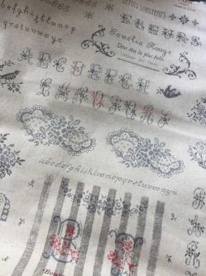 Tissus Métis Yuwa Lin Alphabet Gris