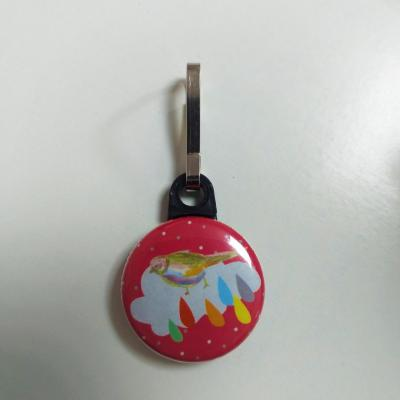 Tirette zip  badge fermeture éclair Oiseau sur Fond Rouge