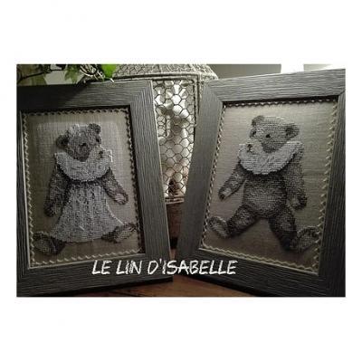 Ours Ancien 'Fille et garçon' Le Lin d'Isabelle