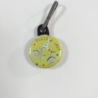 Tirette zip  badge fermeture éclair Paris à Vélo