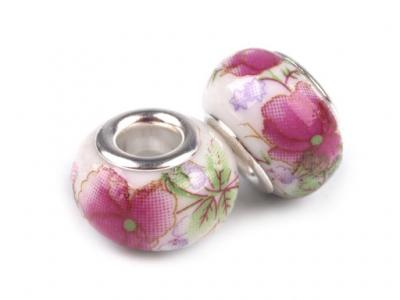 Lot de 2 Perles Porcelaines Roses 10x14 mm