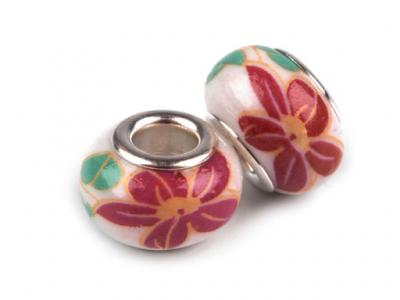 Lot de 2 Perles Porcelaines Rouges 10x14 mm