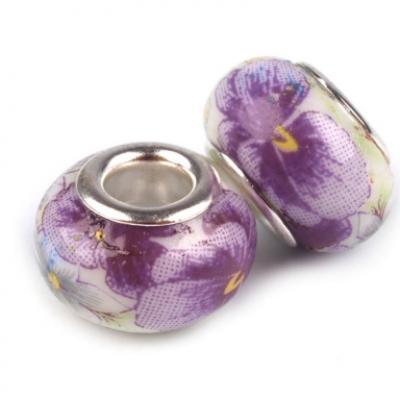 Lot de 2 Perles Porcelaines Violettes 10x14 mm