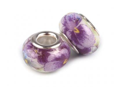 Lot de 2 Perles Porcelaines Violettes 10x14 mm