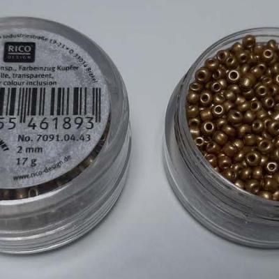 Perles de Rocailles 2mm Or Mat Rico Design 7091.04.43