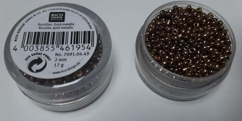 Perles rocailles 2 mm or metallque rico design 7091 04 49