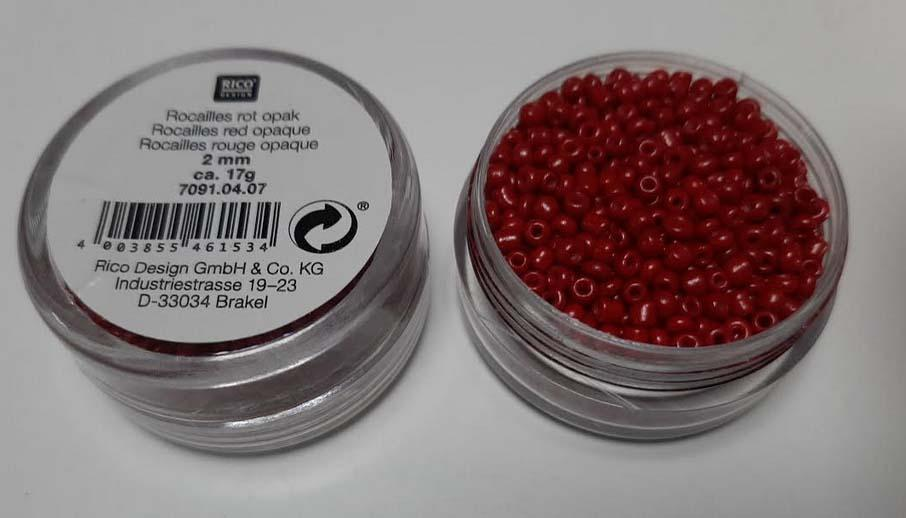 Perles rocailles 2 mm rouge opaque rico design 7091 04 07