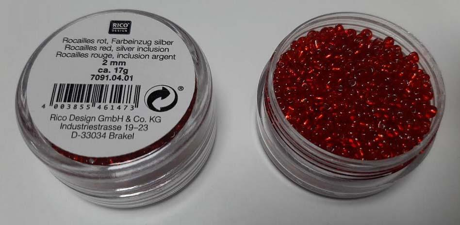 Perles rocailles 2 mm rouge rouge inclusion argent rico design 7091 04 01
