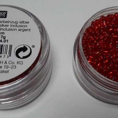Perles de Rocailles Rouge Inclusion Argent 2mm Rico Design 7091.04.01