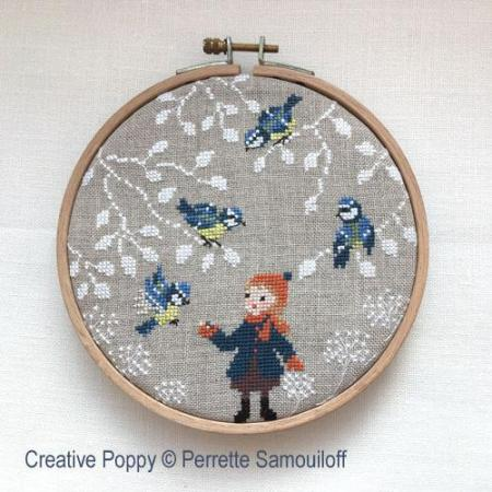 Perrette samouiloff blue tits chickadees cross stitch