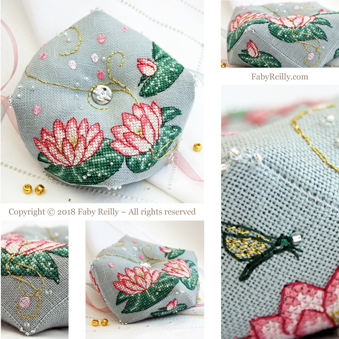 Pink lotus biscornu faby reilly designs