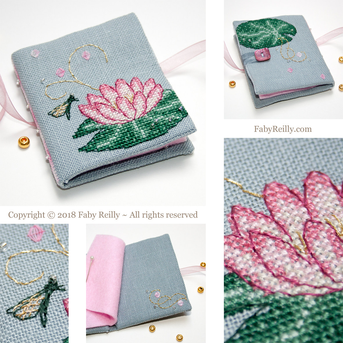 Pink lotus needlebook faby reilly designs