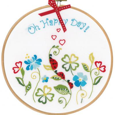 Kit à broder - Oh happy day avec cercle à broder Vervaco PN 0155045