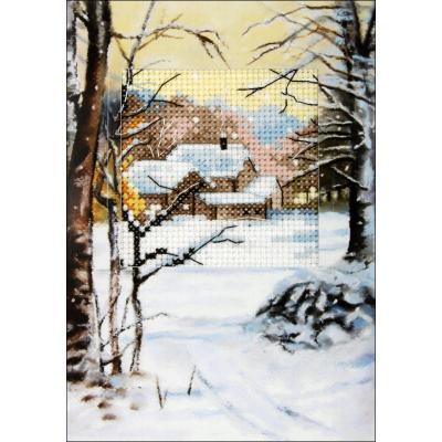 Kit Carte en couleur à broder 'Hameau sous la neige' ORCHIDEA 6234