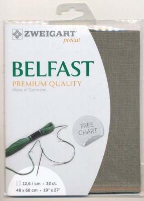 Precut Toile à Broder Zweigart  Lin Belfast 12,6 Fils Graphite 7025 48x68 cm