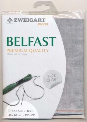 Precut Toile à Broder Zweigart de Lin Belfast 12,6 Fils Marbré Vintage Gris 7729 48x68 cm