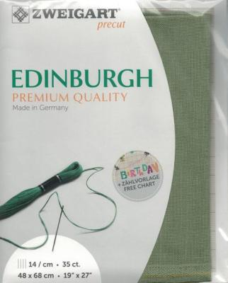 Precut Toile à Broder Zweigart  Lin Edinburgh 14 Fils Agave 6018 48x68 cm