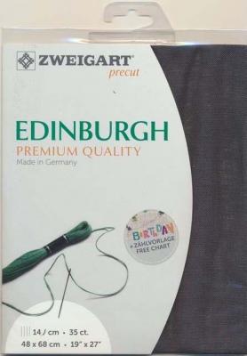Precut Toile à Broder Zweigart  Lin Edinburgh 14 Fils Gris Charbon 7026 48x68 cm