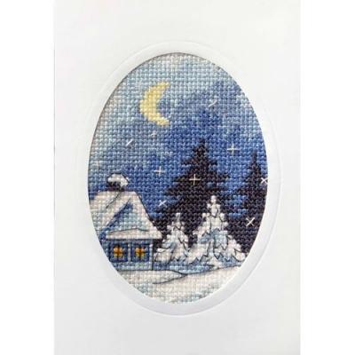 Kit Carte en couleur à broder 'Chalet sous la lune' ORCHIDEA 6152