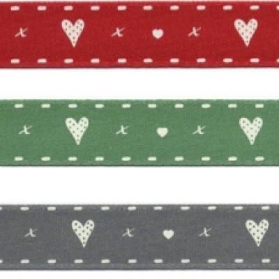 Ruban Coeur en Rouge, Vert et Gris 15mm