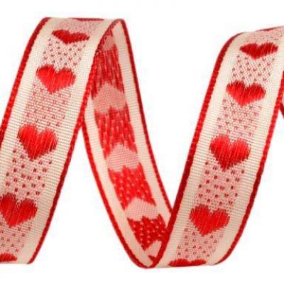 Ruban Tissé Coeur rouge fond blanc 15mm