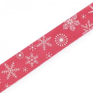 Ruban de noel etoile blanche sur fond rouge 15mm 1