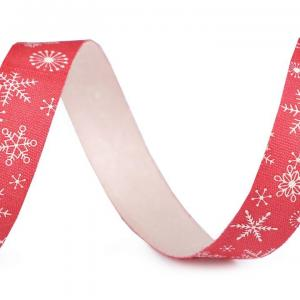 Ruban de noel etoile blanche sur fond rouge 15mm