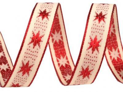 Ruban Tissé Etoile rouge sur fond écru 15mm