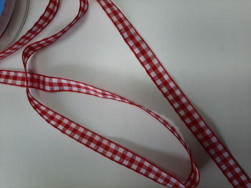 Ruban vichy rouge 11 mm