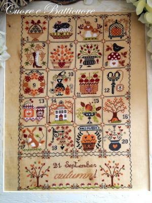 Shabby autumn calendar Cuore e Batticuore