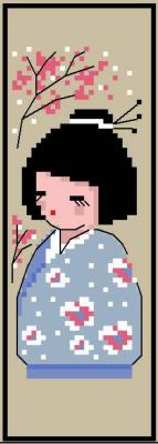 Marque page 'Kokeshi Cerisier' N° 910 Au Fil de Martine
