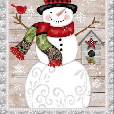 Tissu Patchwork Snow Place Like Home Gray Snowman Panel 4895-007