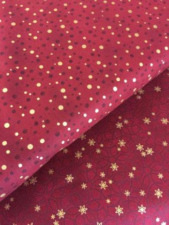 Stof christmas red gold 459