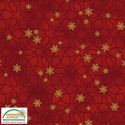 Tissus Patchwork Stof Christmas Red Gold 4596-407