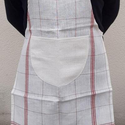 Tablier en Lin Blanc Antique à Rayures Rouges 55x75 cm