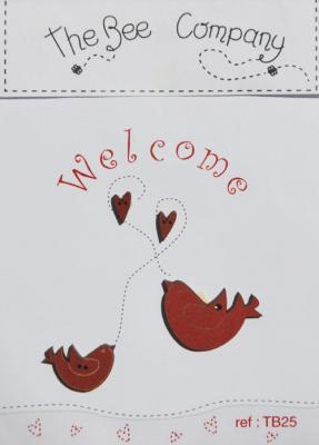 """Boutons """"oiseaux"""" Welcome Rouge TB25 The Bee company"""