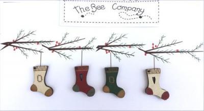4 Boutons Bottes de Noël TB4P  - The Bee Company