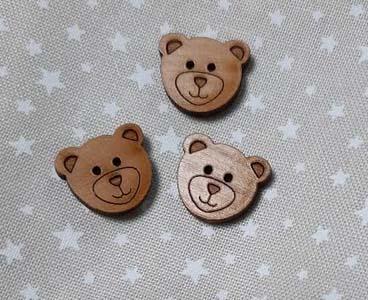 Tete d ours vernis bouton bois