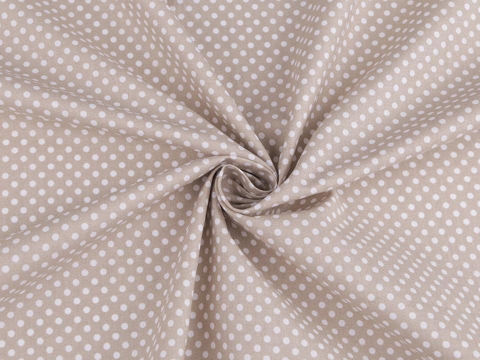 Tissu a pois blancs fond taupe 1