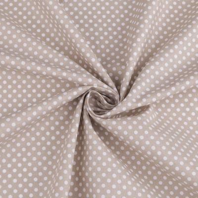 Tissu Popeline à Pois Blanc Fond Taupe 50x160 cm