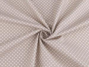 Tissu a pois blancs fond taupe 2