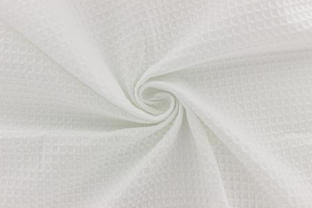 Tissu eponge nid d abeille blanc 1