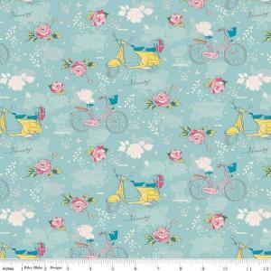 Tissu jordan someday velo bleu et roses au jardin c7910 aqua