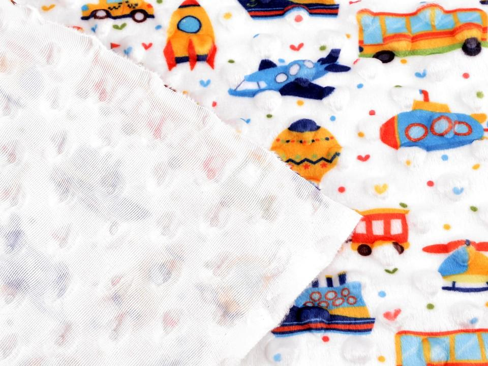 Tissu minky a pois impression vehicules en 150 cm